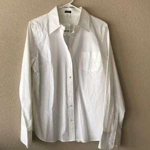 NWT J.crew factory perfect white shirt! L
